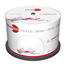 CD Rohling CD-R bedruckbar White Fullsize Surface 52er Speed 700MB/80Min. photo-on-disc Cakebox Primeon 2761105 (PACK=50 STÜCK) Produktbild