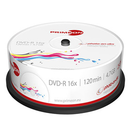 DVD-R printable White Fullsize Surface Cakebox 16fach 4,7GB Primeon 2761205 (PACK=25 STÜCK) Produktbild