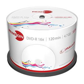 DVD-R printable White Fullsize Surface Cakebox 16fach 4,7GB Primeon 2761206 (PACK=50 STÜCK) Produktbild