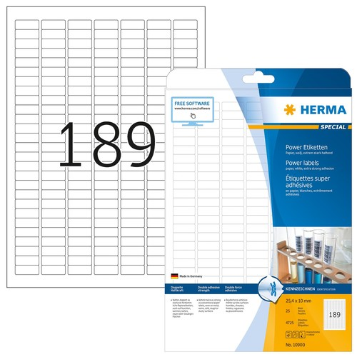 Etiketten Inkjet+Laser+Kopier 25,4x10,0mm auf A4 Bögen weiß extrem stark haftend Herma 10900 (PACK=4725 STÜCK) Produktbild