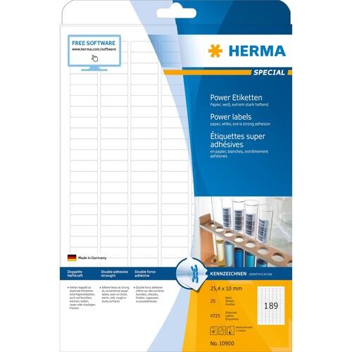 Etiketten Inkjet+Laser+Kopier 25,4x10,0mm auf A4 Bögen weiß extrem stark haftend Herma 10900 (PACK=4725 STÜCK) Produktbild Additional View 1 L