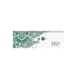 Querkalender 2021 32x13cm 1Woche/2Seiten grün Spiralbindung Zettler 130 Produktbild