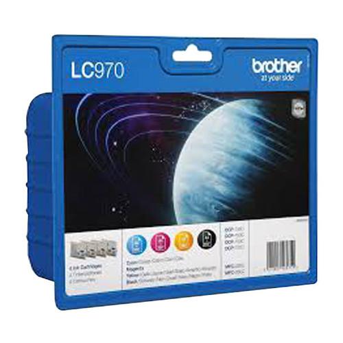 Tintenpatrone Multipack für Brother DCP135C/MFC260C 1x350Seiten/3x300Seiten schwarz/farbig Brother LC970VALBP (ST=4 STÜCK) Produktbild Front View L