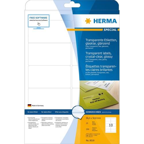 Folien-Etiketten Laser+Kopier 96x50,8mm auf A4 Bögen permanent glasklar transparent Herma 8018 (PACK=250 STÜCK) Produktbild Additional View 1 L