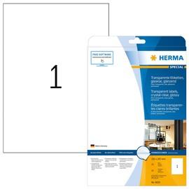 Folien-Etiketten Laser+Kopier 210x297mm auf A4 Bögen permanent glasklar transparent Herma 8020 (PACK=25 STÜCK) Produktbild