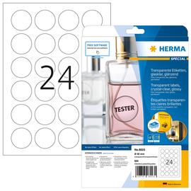 Folien-Etiketten Laser+Kopier 40mm Ø auf A4 Bögen permanent glasklar transparent Herma 8023 (PACK=25 STÜCK) Produktbild