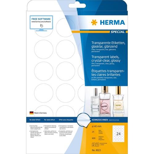 Folien-Etiketten Laser+Kopier 40mm Ø auf A4 Bögen permanent glasklar transparent Herma 8023 (PACK=25 STÜCK) Produktbild Additional View 1 L