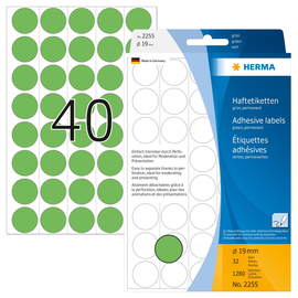 Markierungspunkte 19mm ø grün Herma 2255 (PACK=1280 STÜCK) Produktbild