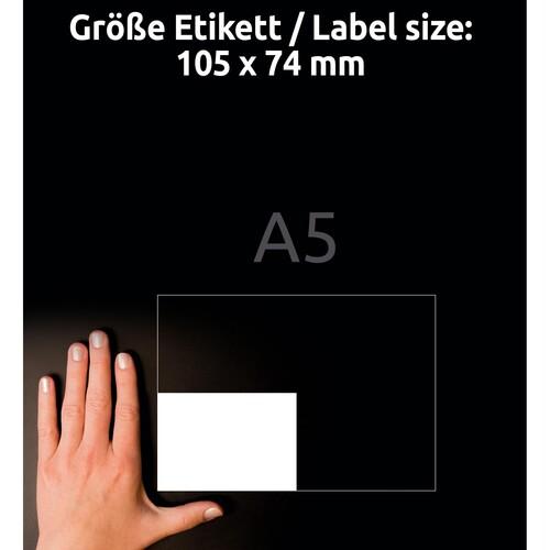 Etiketten Inkjet+Laser+Kopier 105x74mm auf A5 Bögen weiß Zweckform 6133 (PACK=800 STÜCK) Produktbild Additional View 6 L