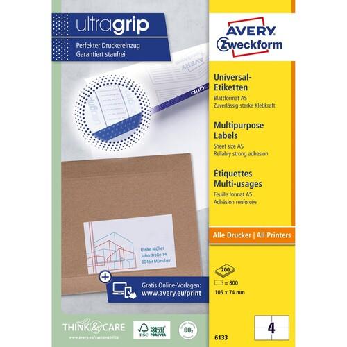 Etiketten Inkjet+Laser+Kopier 105x74mm auf A5 Bögen weiß Zweckform 6133 (PACK=800 STÜCK) Produktbild Additional View 1 L