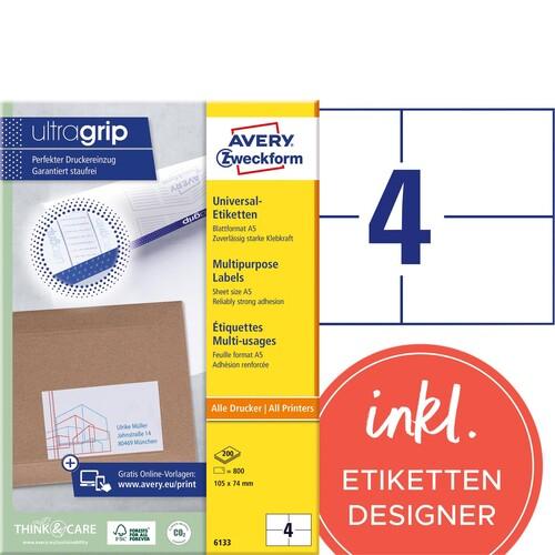 Etiketten Inkjet+Laser+Kopier 105x74mm auf A5 Bögen weiß Zweckform 6133 (PACK=800 STÜCK) Produktbild