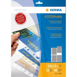 Postkartenhüllen Fotophan für 4 Postkarten 10x15cm transparent PP 230x297mm Herma 7695 (PACK=10 STÜCK) Produktbild