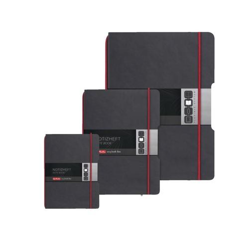 Notizheft flex A6 kariert schwarz 40 Blatt Lederoptik Herlitz 11361847 Produktbild Additional View 8 L