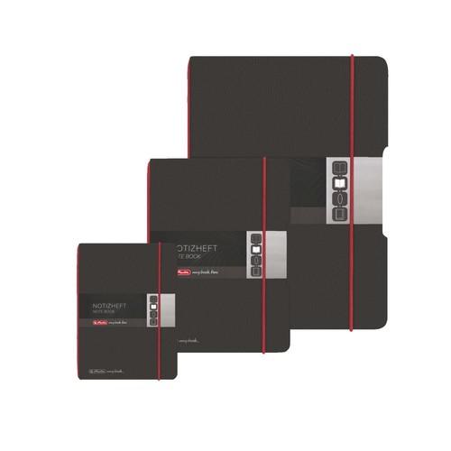 Notizheft flex A6 kariert schwarz 40 Blatt Lederoptik Herlitz 11361847 Produktbild Additional View 9 L