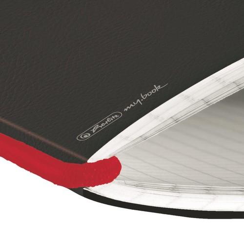 Notizheft flex A6 kariert schwarz 40 Blatt Lederoptik Herlitz 11361847 Produktbild Additional View 3 L