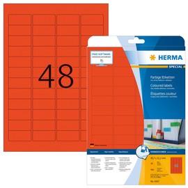 Etiketten Inkjet+Laser+Kopier 45,7x21,2mm auf A4 Bögen rot ablösbar Herma 4367 (PACK=960 STÜCK) Produktbild