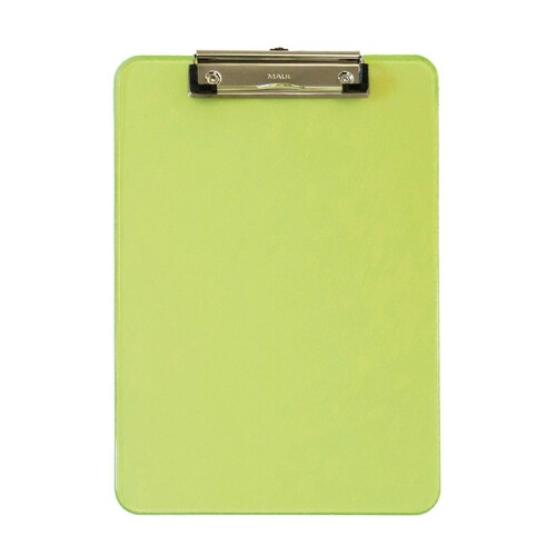 Klemmbrett mit Bügelklemme kurze Seite A4 transparent grün Kunststoff Maul 23406-51 Produktbild
