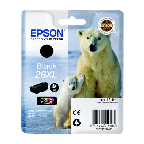 Tintenpatrone 26XL für Epson Expression Premium XP-600 12,1ml schwarz Epson T262140 Produktbild Front View L