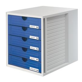 Schubladenbox Systembox 5 Schübe 275x320x330mm lichtgrau-blau Kunststoff HAN 1450-14 Produktbild