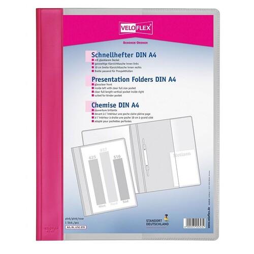 Schnellhefter Veloform Vorderdeckel transparent mit Innentasche A4 überbreit pink PVC Veloflex 4741070 Produktbild