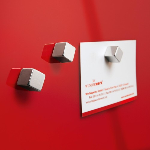 SuperDym-Magnet-Cube C5 artverum Cube-Design 10x10x10mm silber vernickelt stark Sigel GL192 (PACK=6 STÜCK) Produktbild Additional View 2 L