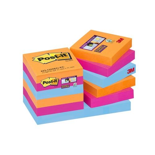 Haftnotizen Post-it Super Sticky Notes 51x51mm neonfarben Papier 3M 62212SE (PACK=12x 90 STÜCK) Produktbild