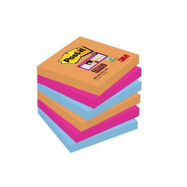 Haftnotizen Post-it Super Sticky Notes 76x76mm neonfarben Papier 3M 6546SE (PACK=6x 90 STÜCK) Produktbild
