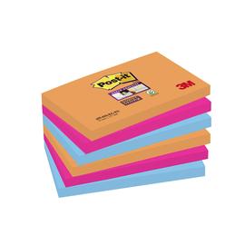 Haftnotizen Post-it Super Sticky Notes 76x127mm neonfarben Papier 3M 6556SE (PACK=6x 90 STÜCK) Produktbild
