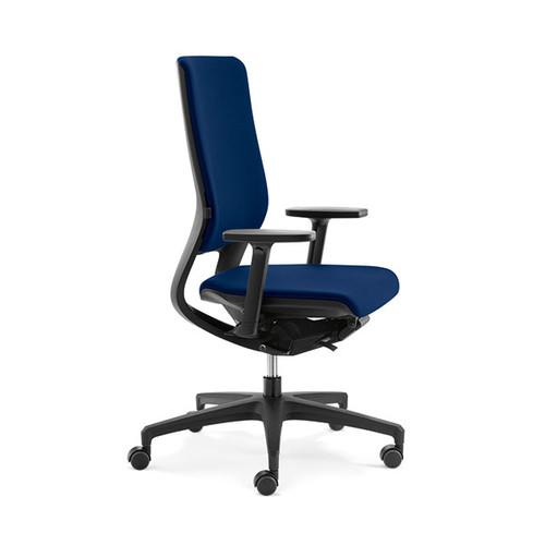 Drehstuhl BASIC Mera98 mit Armlehnen ohne Kopfstütze Farbe 475 Chicago blau Klöber Produktbild Front View L