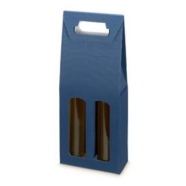 Tragekarton Modern blau Für 2 Flaschen Famulus 002198 Produktbild