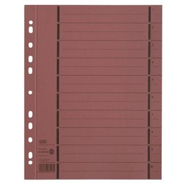 Trennblätter mit abtrennbaren Taben A4 240x300mm rot vollfarbig 250g Karton Elba 400004670 (PACK=100 STÜCK) Produktbild