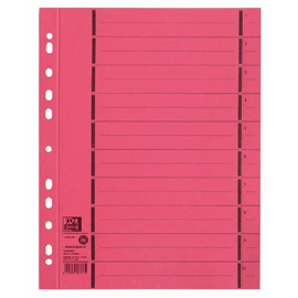 Trennblätter Oxford A4 rot 250g vollfarbig Karton 240x300mm mit perforierten Taben 400004670 (PACK=100 STÜCK) Produktbild