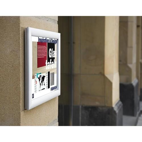 Bilderwechselrahmen mit Klemmprofil- technik für Außenbereich 62,4x87x1,2cm silber Aluminium Franken BS1704 Produktbild Additional View 1 L