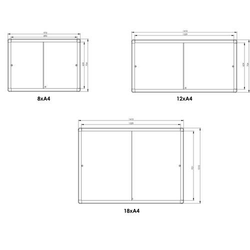 Schaukasten PRO für Innenbereich 12xA4 mit Schiebetüren 139x68x4,6cm Metall- Rückwand magnetisch Franken SK6112 Produktbild Additional View 1 L