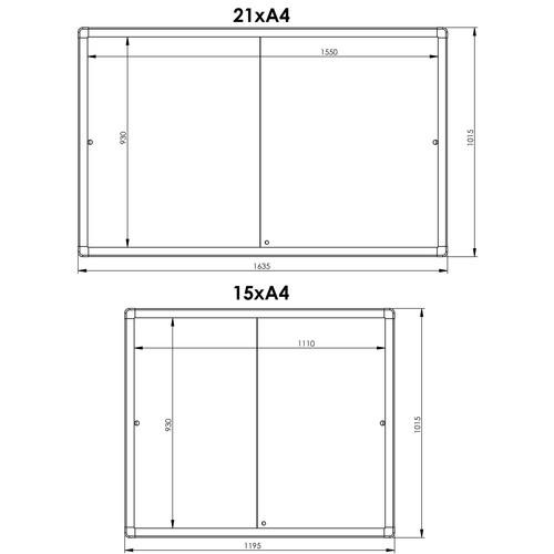Schaukasten PRO für Innenbereich 15xA4 mit Schiebetüren 117,5x99x4,6cm Metall- Rückwand magnetisch Franken SK6115 Produktbild Additional View 1 L