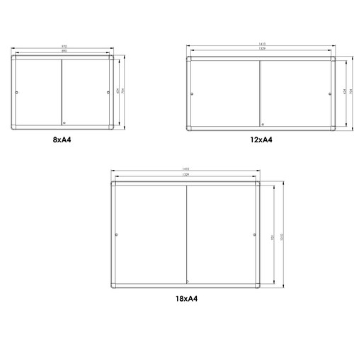Schaukasten PRO für Innenbereich 18xA4 mit Schiebetüren 139x99x4,6cm Metall- Rückwand magnetisch Franken SK6118 Produktbild Additional View 1 L