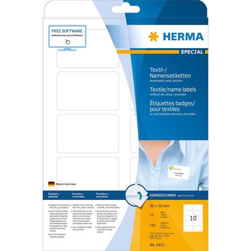 Namens-Etiketten Laser+Kopier 80x50mm auf A4 Bögen weiß trennbar Acetatseide Herma 4412 (PACK=250 STÜCK) Produktbild Additional View 1 L
