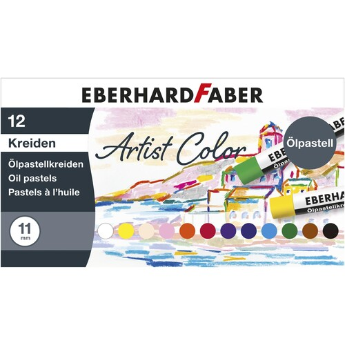 Öl-Pastellkreiden Kartonetui farbig sortiert Eberhard Faber 522012 (ETUI=12 STÜCK) Produktbild Front View L