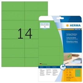 Etiketten Inkjet+Laser+Kopier 105x42,3mm auf A4 Bögen matt grün ablösbar Herma 5061 (PACK=280 STÜCK) Produktbild