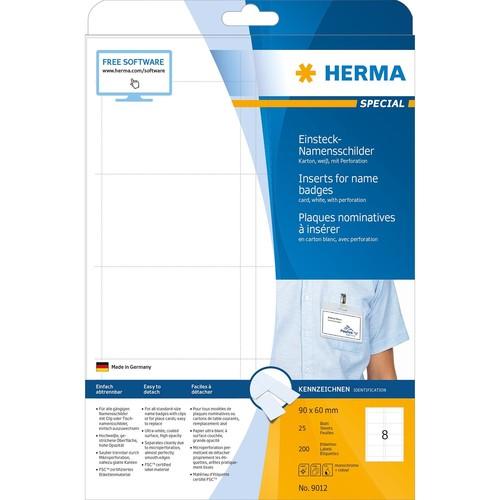 Namens-Einsteckschilder Inkjet+Laser+Kopier 90x60mm auf A4 Bögen weiß Herma 9012 (PACK=200 STÜCK) Produktbild Additional View 1 L