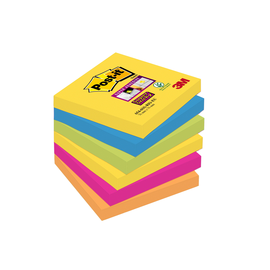 Haftnotizen Post-it Super Sticky Notes 76x76mm Rio de Janeiro Papier 3M 6546SR (ST=6x 90 BLATT) Produktbild