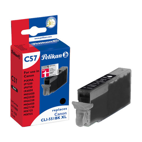 Tintenpatrone Gr. 1520 (CLI-551BKXL) für Pixma IP7250/MG5450 12ml schwarz Pelikan 4110008 Produktbild Front View L