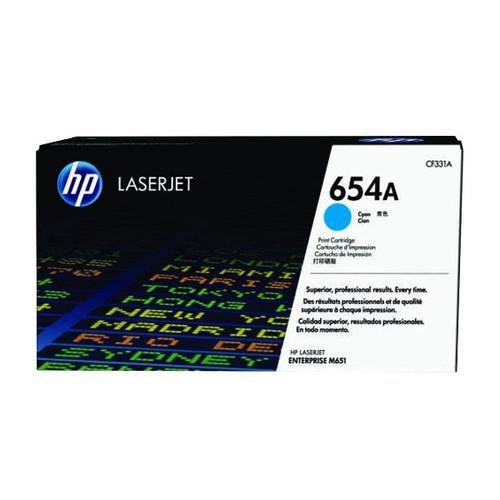 Toner 654A für Color LaserJet Enterprise M650/M651 15000 Seiten cyan HP CF331A Produktbild Front View L