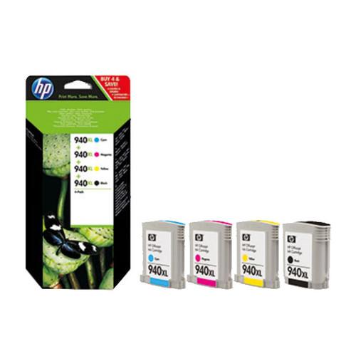 Tintenpatrone 940XL Multipack für OfficeJet 8000 59,5ml schwarz + je 19,5ml cyan+magenta+yellow HP C2N93AE (PACK=4 STÜCK) Produktbild Front View L