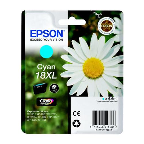 Tintenpatrone 18XL für Epson Expression Home XP-102/202/205 6,6ml cyan Epson T181240 Produktbild Front View L