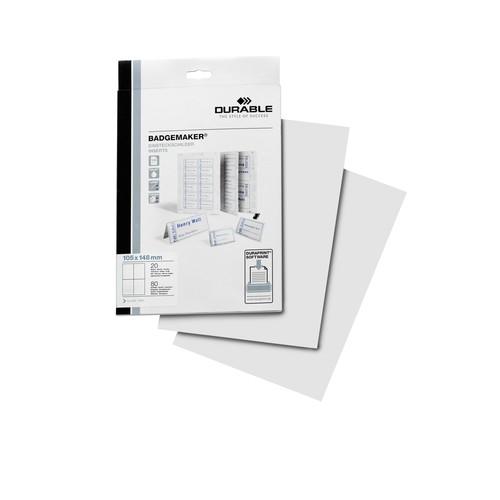 Einsteckschilder BADGEMAKER für A6 Namensschilder weiß Durable 1420-02 (PACK=80 STÜCK) Produktbild Front View L
