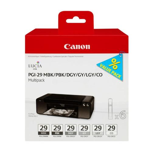 Tintenpatronen PGI-29 Multipack für Pixma Pro1 je 36ml grau+hellgrau+dunkel- grau+mattschwarz+Photo schwarz+chorma (PACK=6 STÜCK) Produktbild Front View L