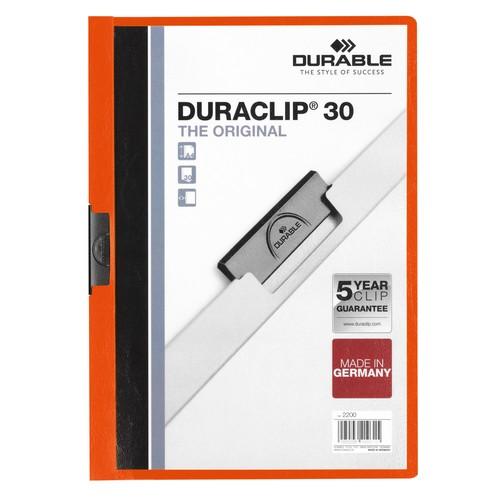 Klemmmappe Duraclip30 A4 bis 30Blatt orange Hartfolie Durable 2200-09 Produktbild Front View L