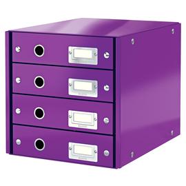 Schubladenbox Click&Store 4 Schübe 290x283x360mm Metallic violett Hartpappe Leitz 6049-00-62 Produktbild
