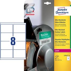 Folien-Etiketten Laser 99,1x67,7mm auf A4 Bg wetterfest+widerstandsfähig+ permanent weiß Zweckform L7914-10 (PACK=80 STÜCK) Produktbild